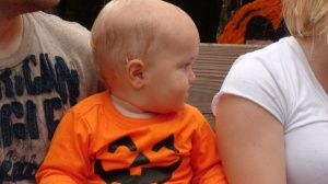 Liam NOT AT ALL interested in the lame pumpkin patch